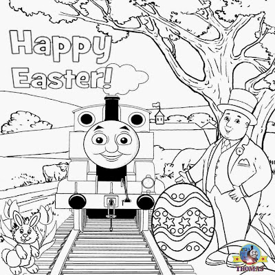 8 Simple printable Thomas and a cheerful bunny rabbit cute Easter colouring for playgroup worksheets