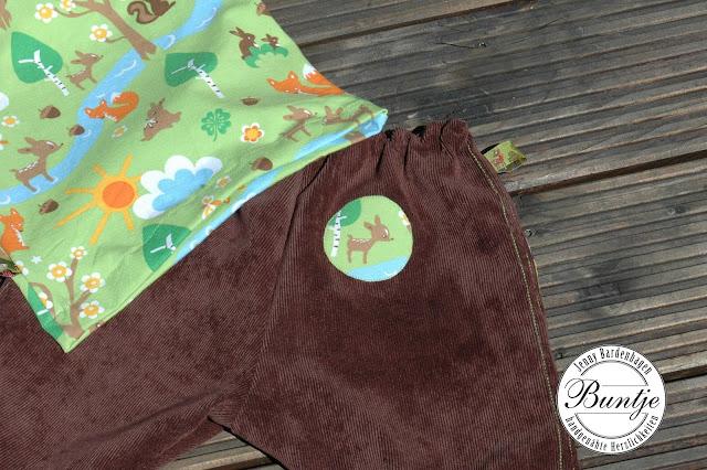 Babyhose Gummizug Cord braun grün orange Waldtiere Shirt Longsleeve Eichhörnchen Eule handmade Buntje Räuberhose Zwergenverpackung Farbenmix