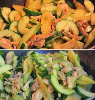 Vietnamese Chicken Recipes - Gà Xào Dưa Leo và Nấm