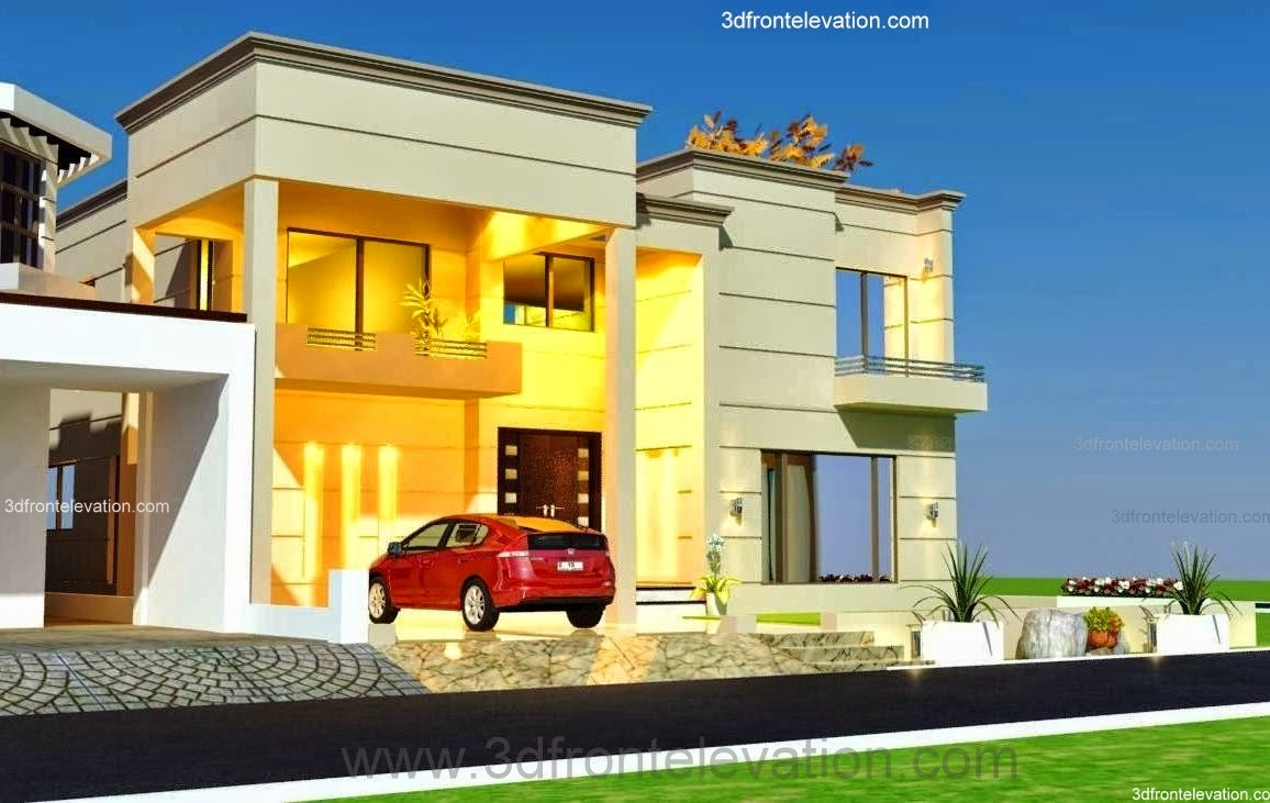 3d front 1 kanal house design for One kanal house plan