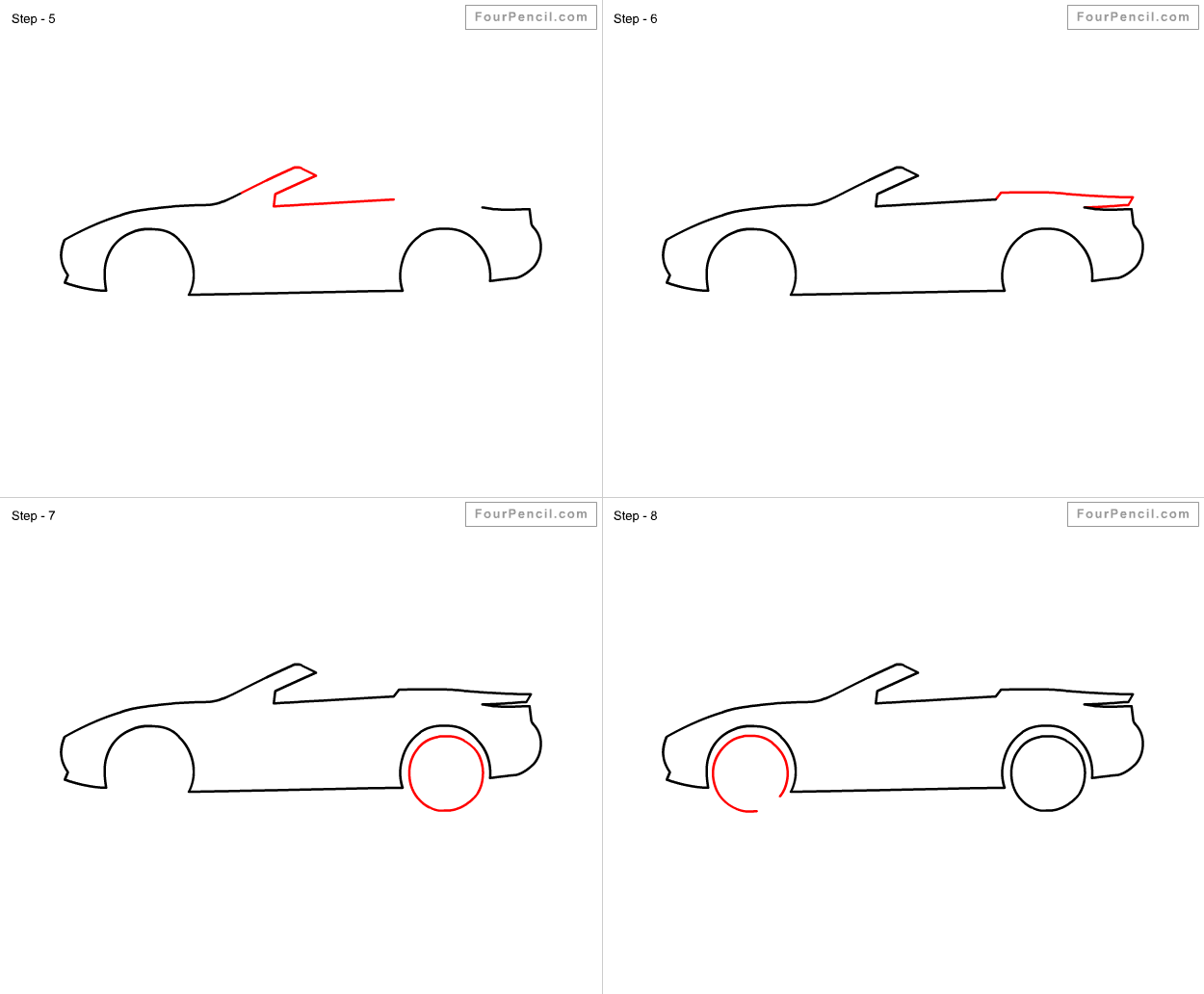 how to draw a car step by step for kids drawing sketch
