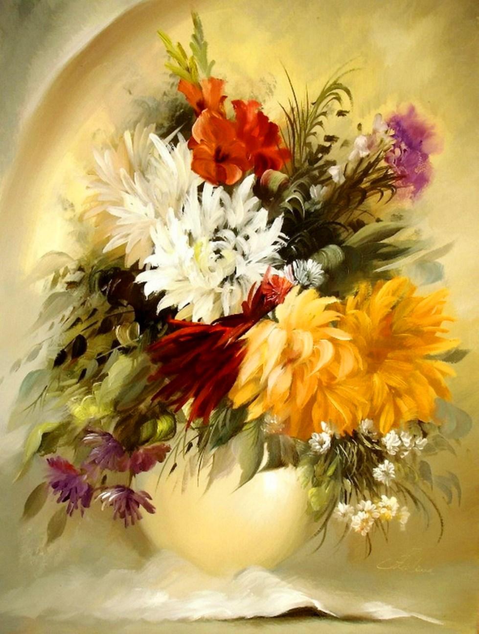 Im genes arte pinturas pinturas floreros decorativos al leo - Oleos decorativos ...