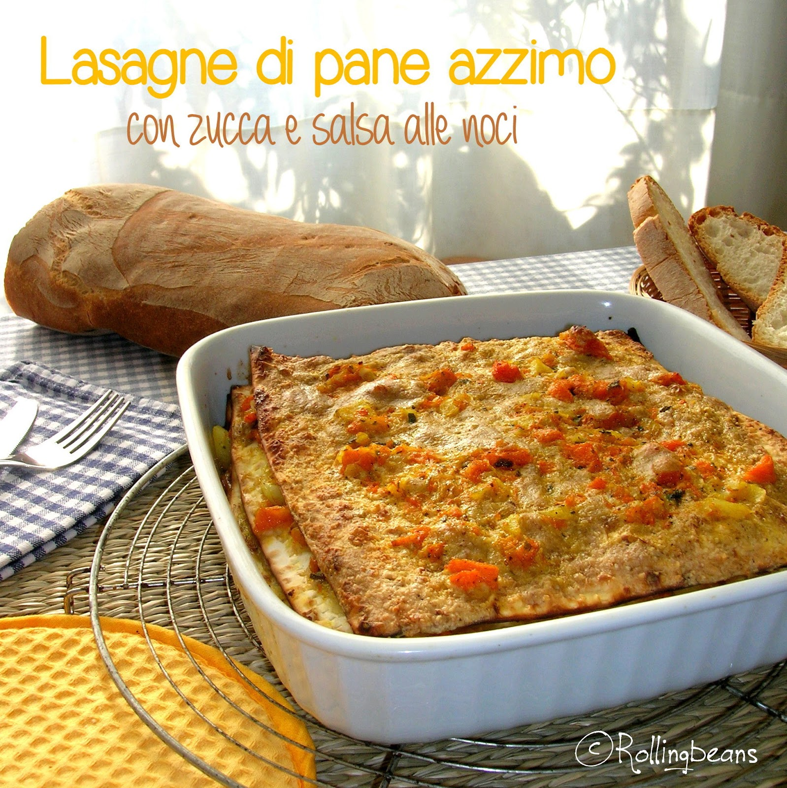 lasagne di pane azzimo con zucca e salsa alle noci (vegan)