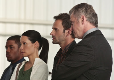 Sherlock and Joan with Gregson and Bell in Elementary Episode # 6 Flight Risk