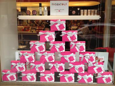 Window of Laura Geller Store with Birchboxes