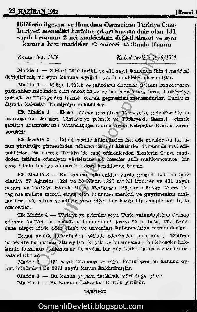 Osmanlı Hanedanının Vatana dönüşüne dair kanun