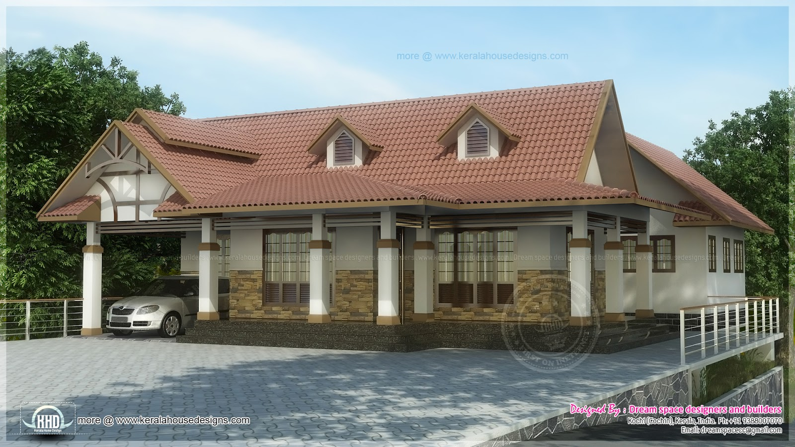 Kerala house plans cochin 3 bed rooms single floor dream for Kerala dream home photos