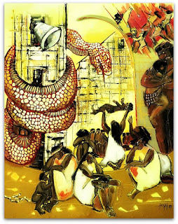 Quadro sobre a Lenda M' Boi  Guaçu, no Museu Municipal de Santo Ângelo.
