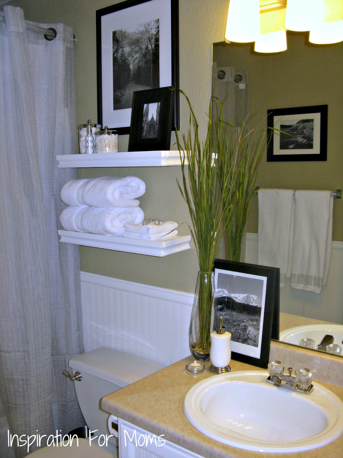 I finished it friday guest bathroom remodel inspiration for Bathroom decorating tips