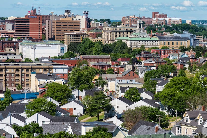 City of Portland, Maine Aerial Skyline View towards downtown summer june 2014 photo by Corey Templeton