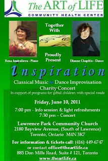 Inspiration Charity Concert Rena Amiralieva - Piano, Dianne Chapitis - Dance, by The Art of Life Community Health Centre, Toronto, June 10, 2011