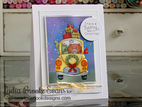 Bear in Car Christmas Card by Lydia Brooke for Newton's Nook Designs - Winston's Home for Christmas Stamp set
