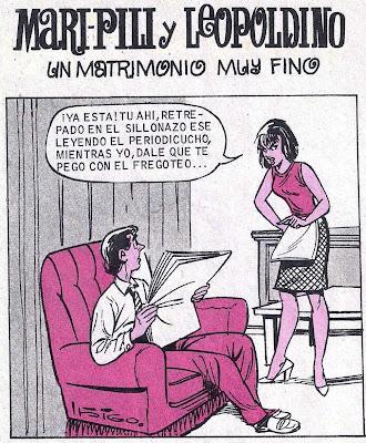 Viñeta de Maripili y Leopoldino matrimonio fino por Iñigo