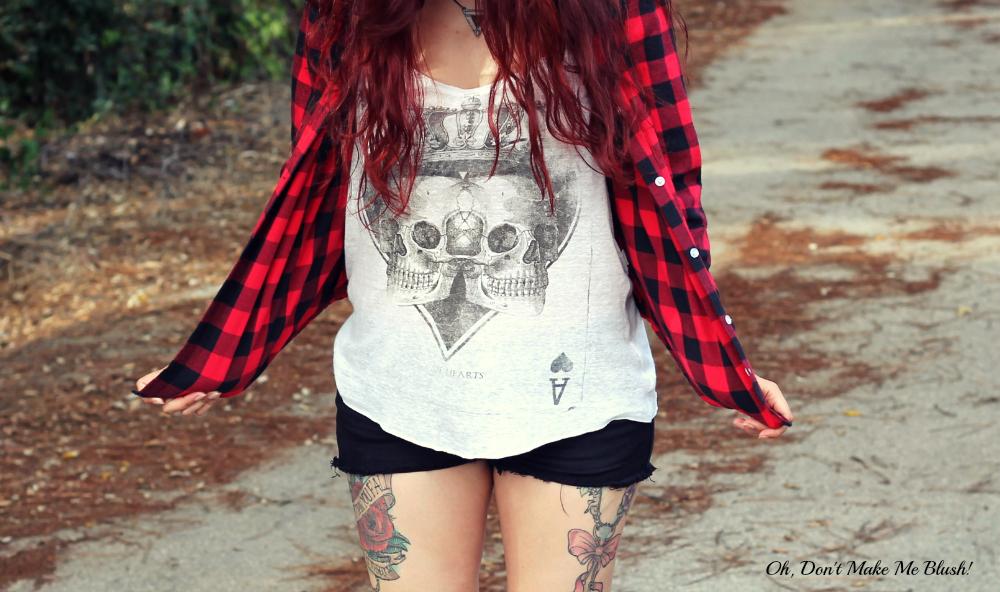 plaid shirt and skulls