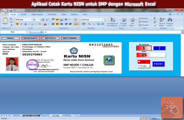Aplikasi Cetak Kartu NISN untuk SMP dengan Microsoft Excel