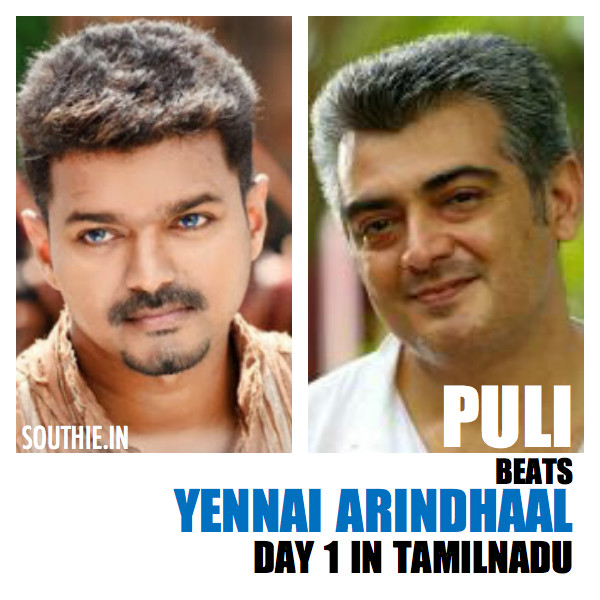 Puli beats Yennai Arindhaal in Tamil Nadu on Day 1 without benefit shows and tax benefits. though the movie has not received good word of the mouth talk, Puli has a massive opening. Massive openings for Puli, Massive Vijay Openings,