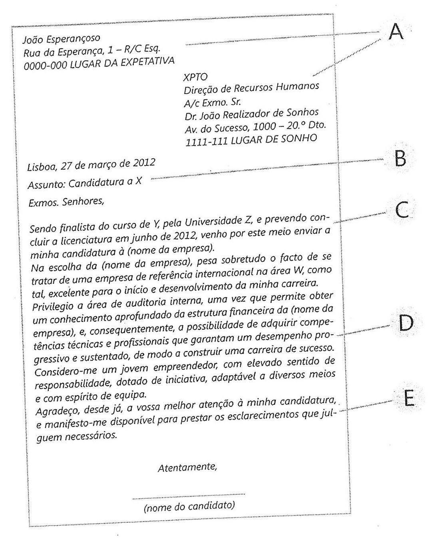 carta de apresentação para estagio