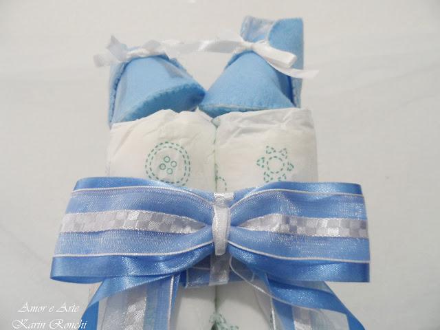 Bolo de fraldas, azul