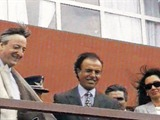 Néstor Kirchner and  Carlos Menem in 1992  after the sale of YPF
