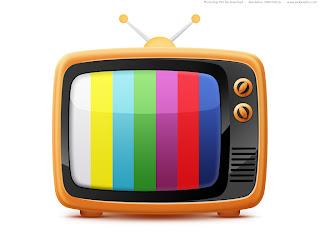 A imagem mostra um desenho de uma televisão antiga, com antenas externas e com uma imagem padrão toda colorida que servia para calibrar as cores