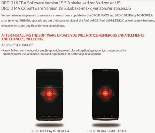 Verizon being pushed Android 4.4 KitKat for Motorola Droid Ultra, Maxx and Mini