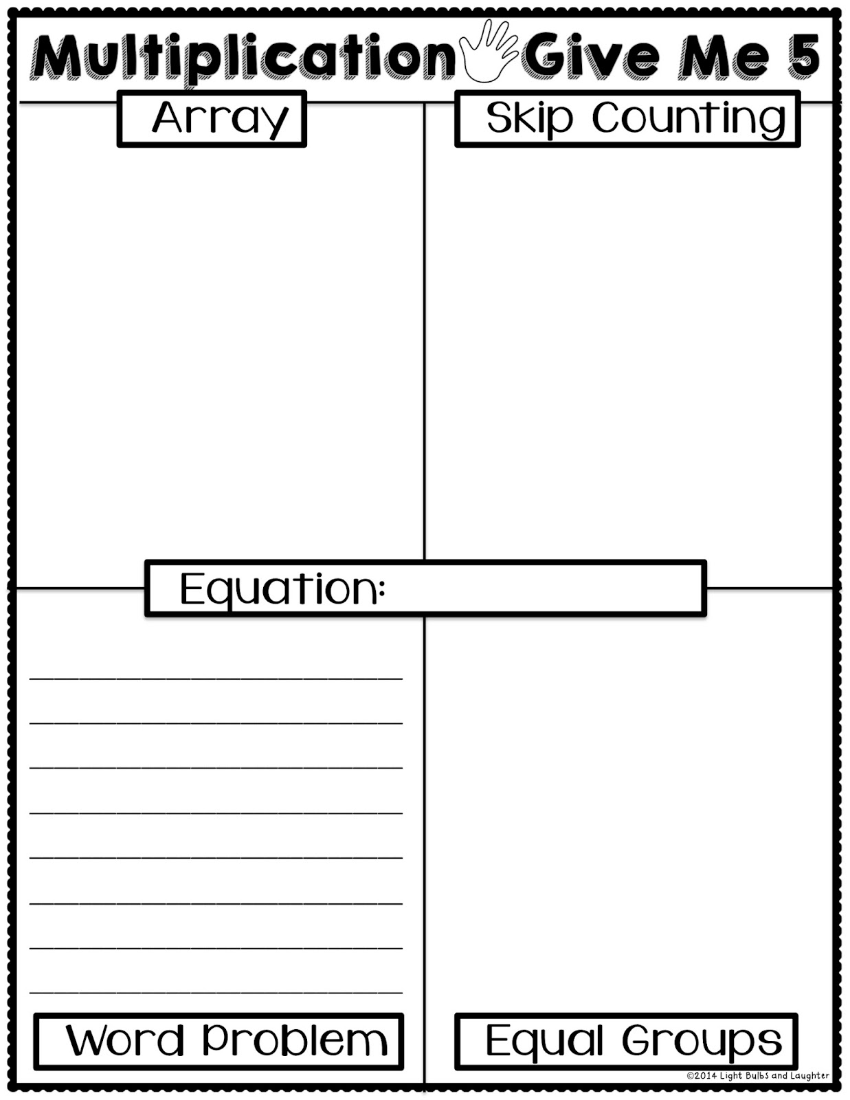 Light Bulbs and Laughter - Multiplication Give Me 5 Worksheet