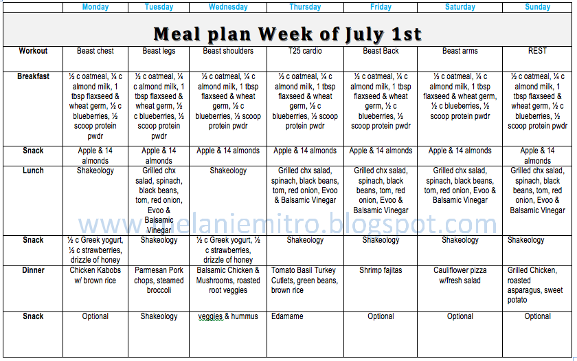 Clean Eating Meal Plan T25 and Body Beast