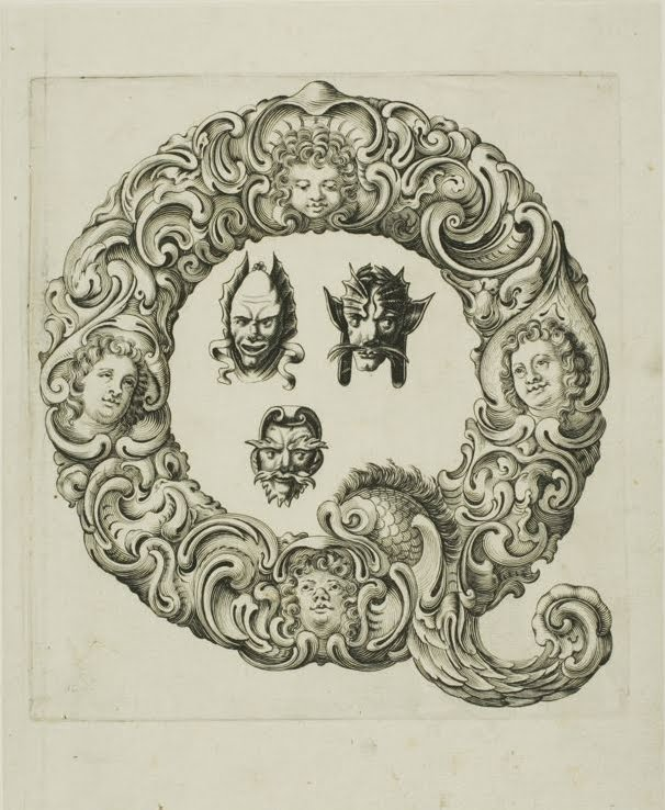 grotesque style foiate letter 'q' engraving, 1650s