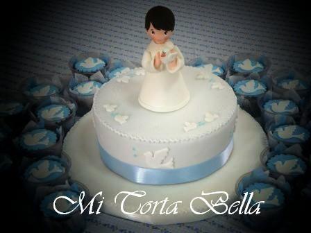 Mi Torta Bella: Torta de bautismo - Angel con palomitas