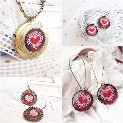 garnet, red, heart, love, jewelry, earrings, locket