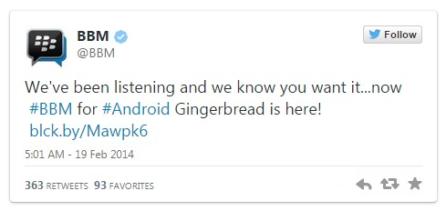 Download BBM untuk Android Gingerbread Apk