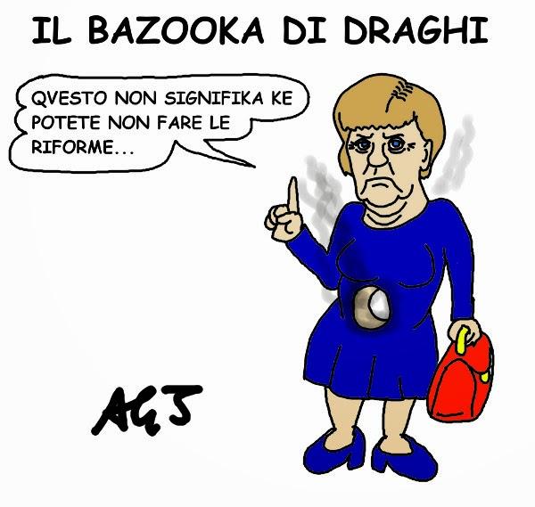 draghi merkel bundesbank quantitative easing debito pubblico vignetta satira