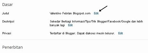 Cara Mudah Ganti Nama Blog di blogger