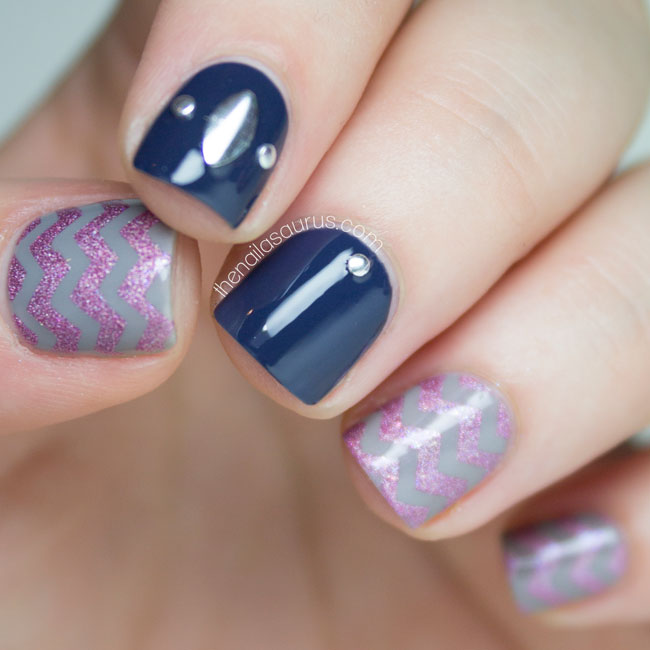 Holographic Chevron Nail Art | The Nailasaurus