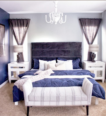 cool and tranquil bedroom in calm purple and blue