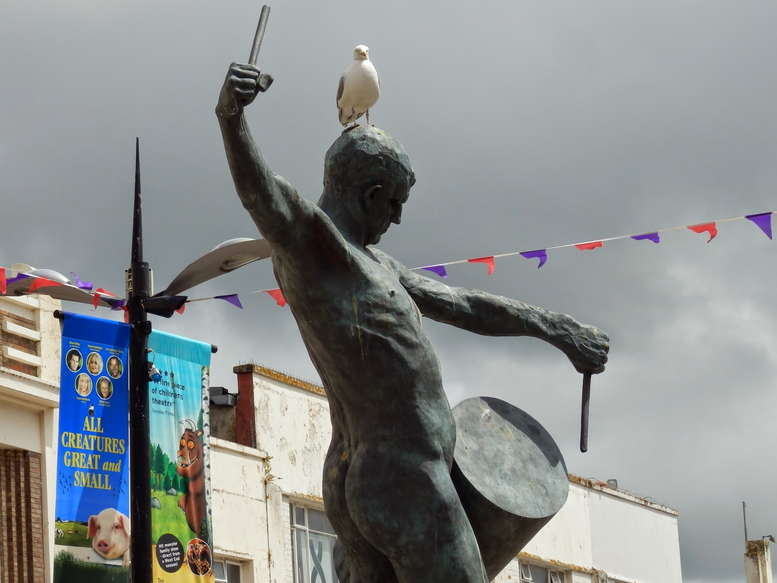 The naked drummer statue in Truro