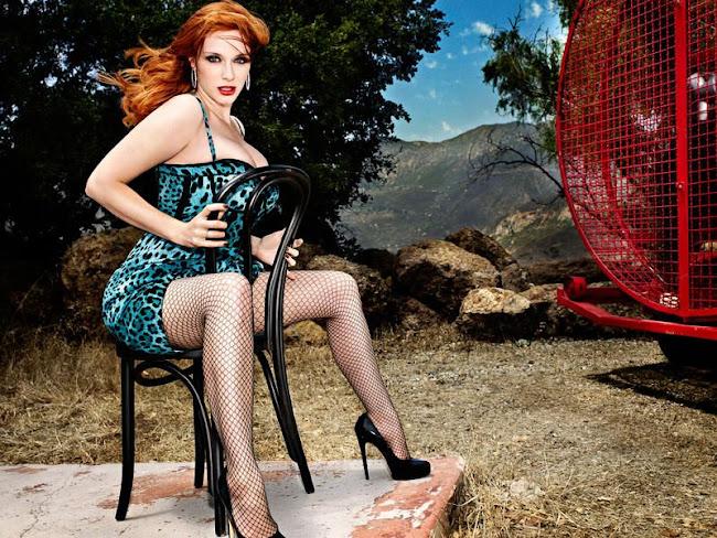 Christina Hendricks on a chair