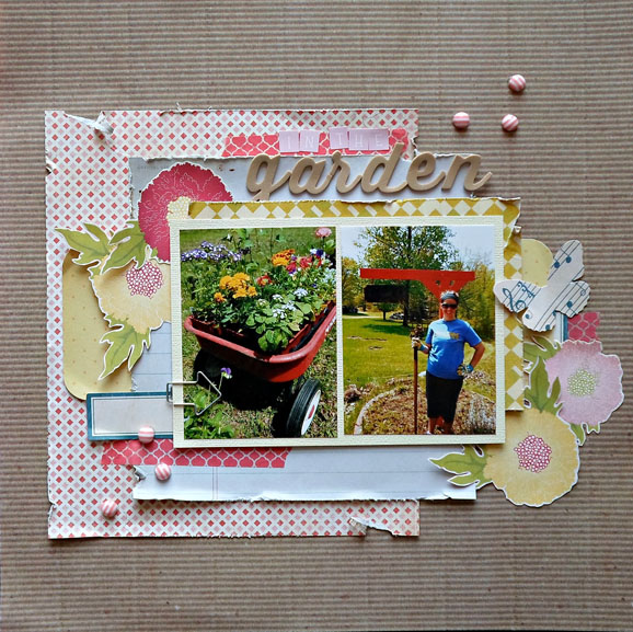 Gardening Scrapbook Layout (via shezigzags.blogspot.com)