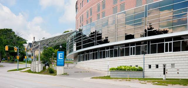 The new entrance to the emergency department at Orillia Soldiers Memorial Hospital; this is accessed from Colborne Street now, while the old entrance was on the opposite side of the hospital on Mississaga Street
