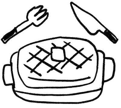 ビーフステーキのイラスト モノクロ線画