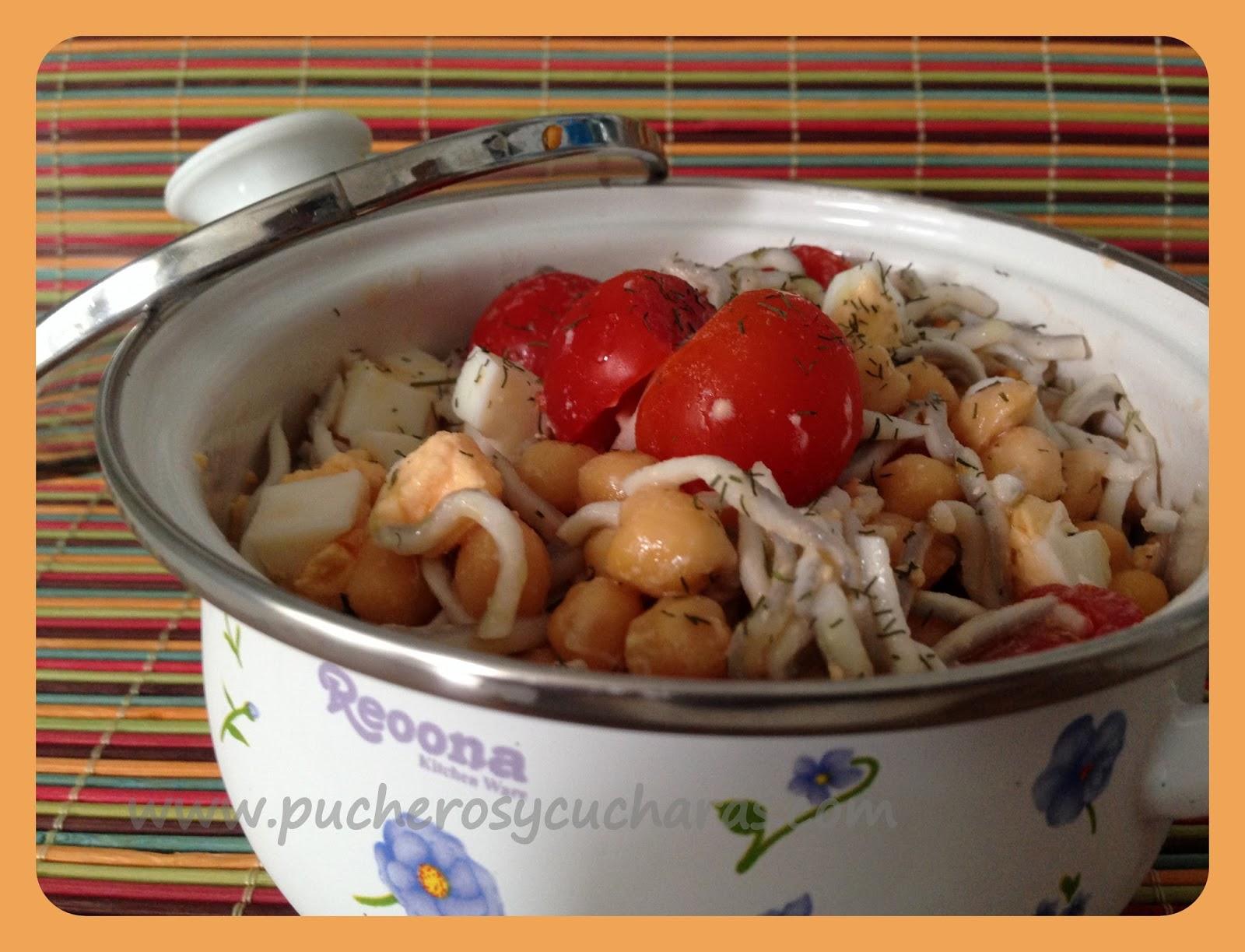 Ensalada De Garbanzos Con Gulas Y Tomate Cherry