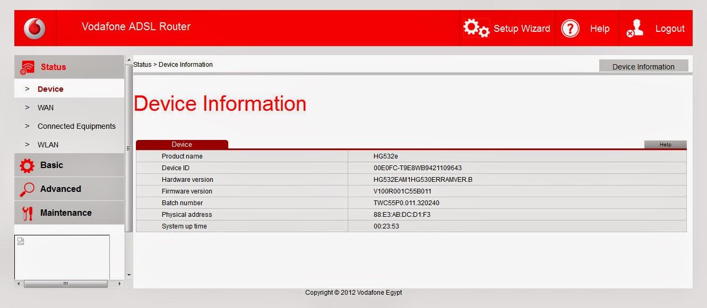 السوفت الاصلى لروتر فودافون Vodafone ADSL Router Firmware version