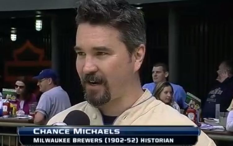 Chance Michaels on FS Wisconsin for the Brewers 1913 throwback