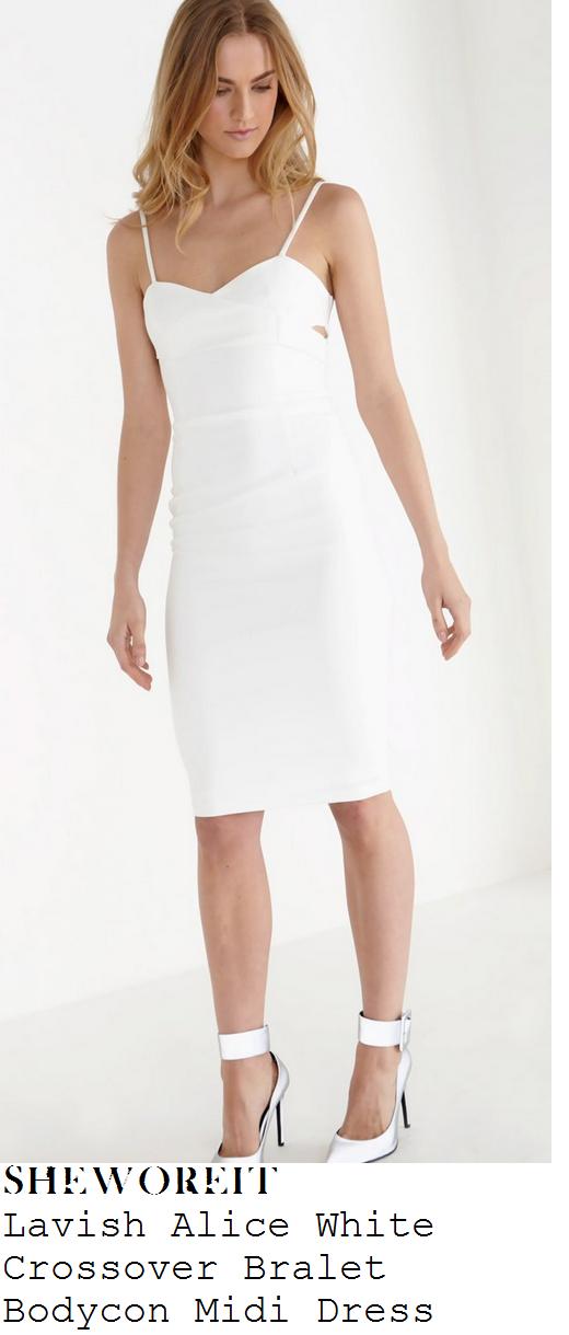 georgia-may-foote-white-sleeveless-bodycon-pencil-midi-dress-lfw