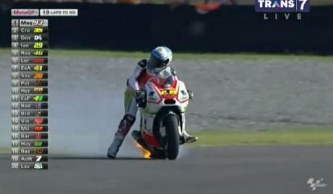 Pramac Ducati Yonny Hernandez Terbakar