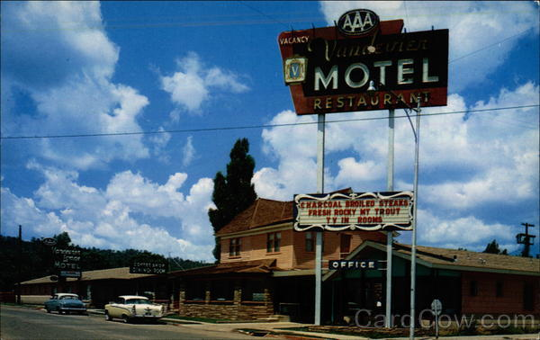 Old postcard of Vandevier Motel Flagstaff