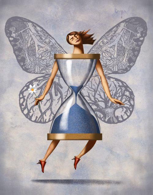 Jim Tsinganos ilustrações surreais oníricas natureza revista Ampulheta borboleta
