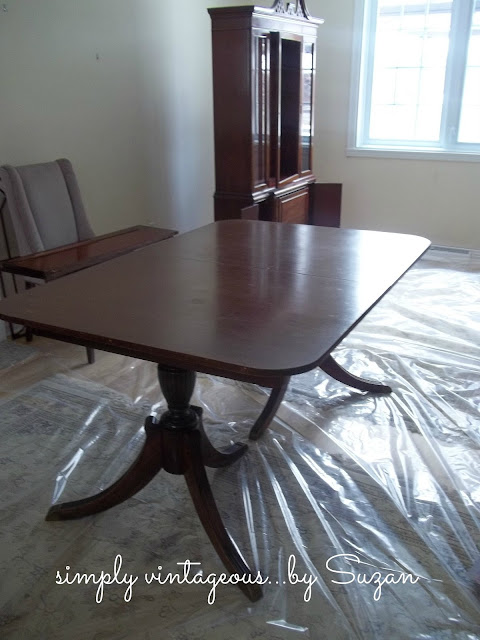 painted, dining room table, pedestal legs, mahogany, ascp, french linen, old white,