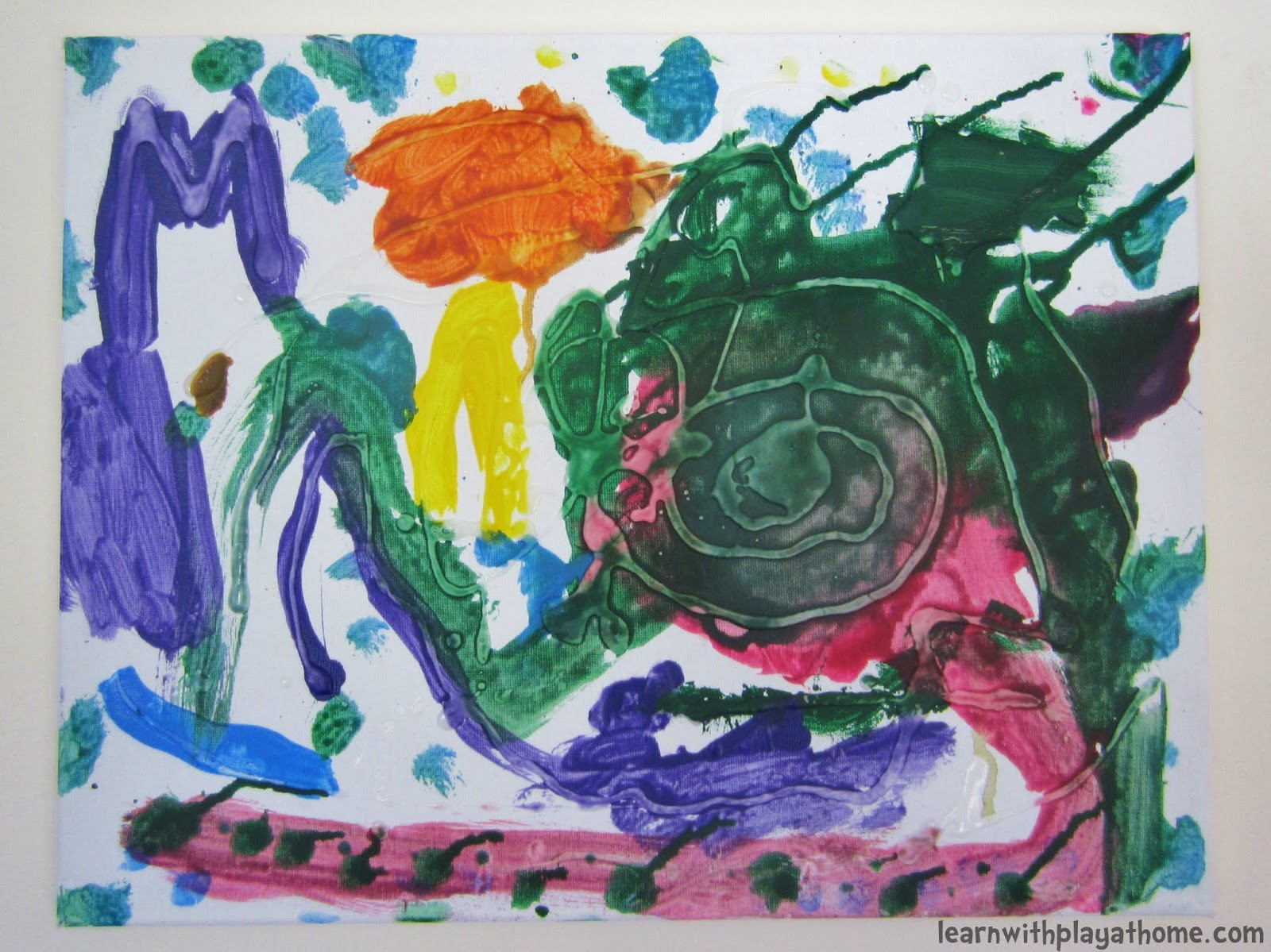 learn with play at home glue canvas kids art - Pictures Of Kids Painting