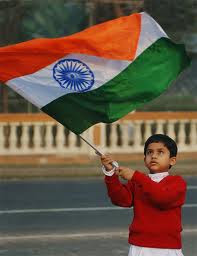 indian boy with indian flag